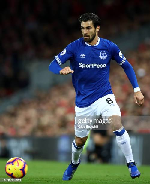 Andre Gomes of Everton in action during the Premier League match between Liverpool FC and Everton FC at Anfield on December 02 2018 in Liverpool...