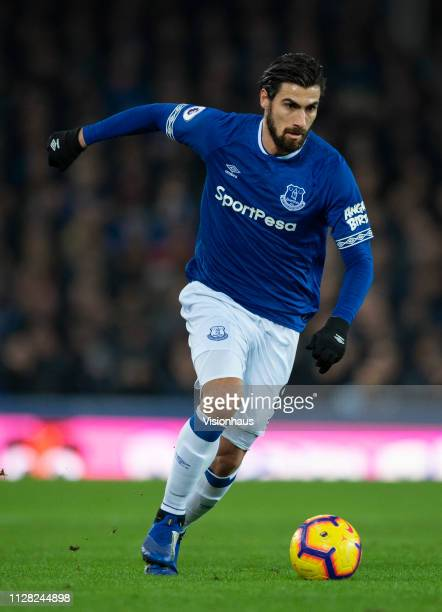 Andre Gomes of Everton in action during the Premier League match between Everton FC and Manchester City at Goodison Park on February 6, 2019 in...