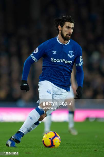 Andre Gomes of Everton in action during the Premier League match between Everton FC and Manchester City at Goodison Park on February 6 2019 in...