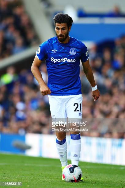 Andre Gomes of Everton in action during the Premier League match between Everton FC and Watford FC at Goodison Park on August 17, 2019 in Liverpool,...