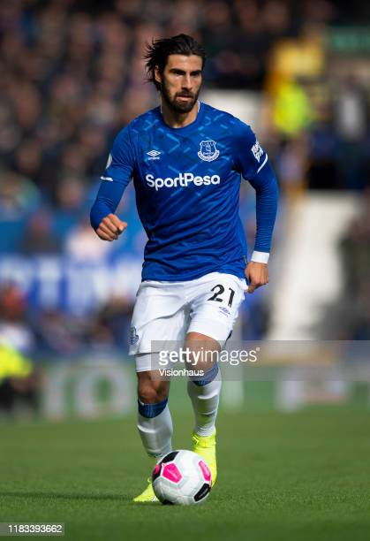 Andre Gomes of Everton in action during the Premier League match between Everton FC and West Ham United at Goodison Park on October 19 2019 in...