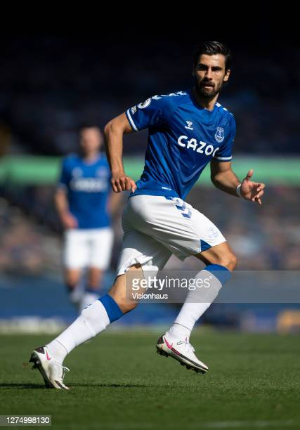 Andre Gomes of Everton in action during the Premier League match between Everton and West Bromwich Albion at Goodison Park on September 19, 2020 in...