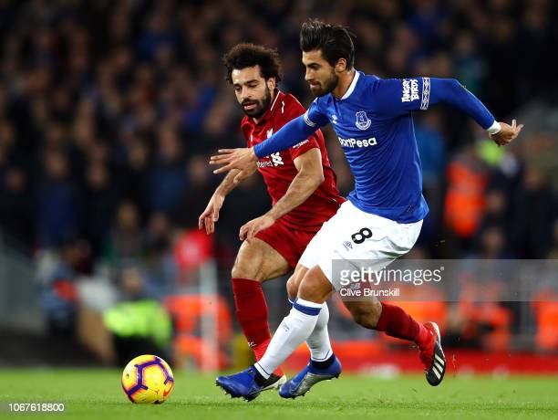 Andre Gomes of Everton is closed down by Mohamed Salah of LiverpLoris Karius of Liverpool during the Premier League match between Liverpool FC and...