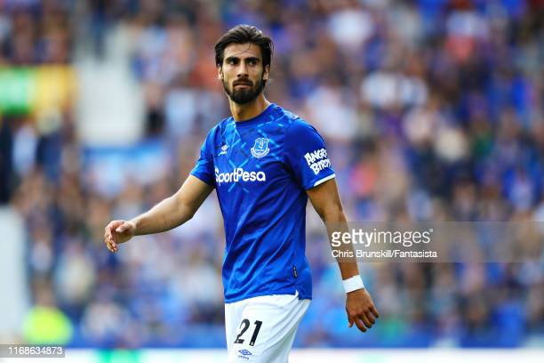 Andre Gomes of Everton looks on during the Premier League match between Everton FC and Watford FC at Goodison Park on August 17 2019 in Liverpool...