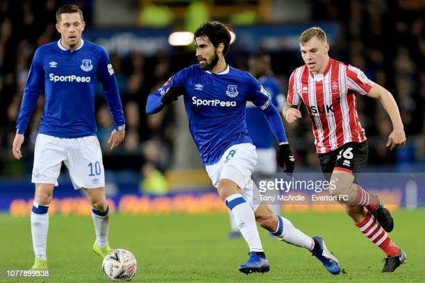 Andre Gomes of Everton on the during the Emirates FA Cup Third Round match between Everton and Lincoln City at Goodison Park on January 5, 2019 in...