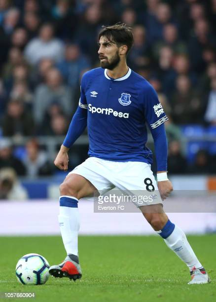 Andre Gomes of Everton runs with the ball during the Premier League match between Everton FC and Crystal Palace at Goodison Park on October 21 2018...