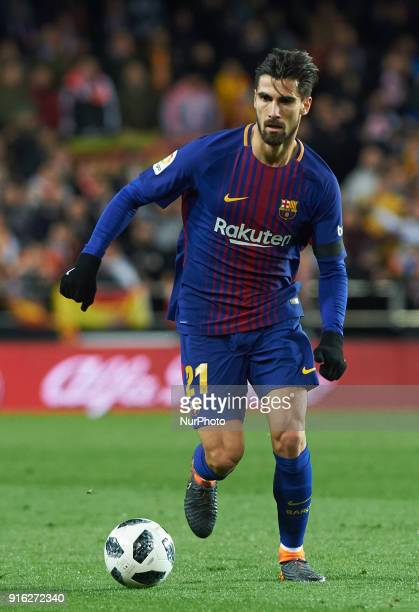 Andre Gomes of FC Barcelona during the spanish Copa del Rey semifinal second leg match between Valencia CF and FC Barcelona at Mestalla Stadium on...