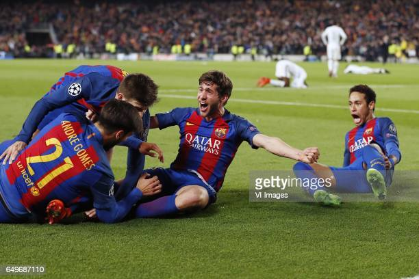 Andre Gomes of FC Barcelona Gerard Pique of FC Barcelona Sergi Roberto of FC Barcelona Neymar of FC Barcelonaduring the UEFA Champions League round...