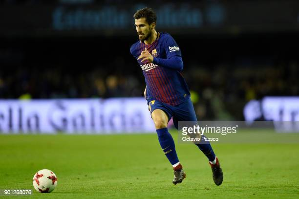 Andre Gomes of FC Barcelona in action during the Copa del Rey round of 16 first leg match between RC Celta de Vigo and FC Barcelona at Municipal...