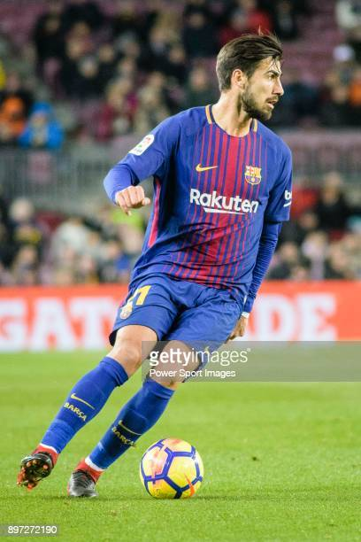 Andre Gomes of FC Barcelona in action during the La Liga 201718 match between FC Barcelona and Deportivo La Coruna at Camp Nou Stadium on 17 December...