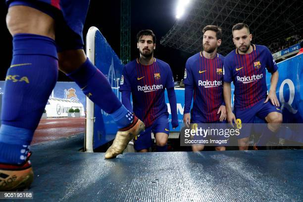 Andre Gomes of FC Barcelona Lionel Messi of FC Barcelona Jordi Alba of FC Barcelona during the La Liga Santander match between Real Sociedad v FC...
