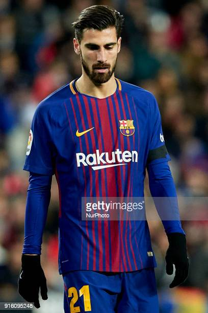 Andre Gomes of FC Barcelona looks down during the Copa del Rey semifinal second leg match between Valencia CF and FC Barcelona at Mestalla on...