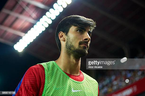 Andre Gomes of FC Barcelona looks on prior to the match between Sevilla FC vs FC Barcelona as part of the Spanish Super Cup Final 1st Leg at Estadio...
