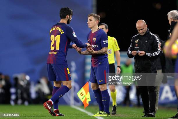 Andre Gomes of FC Barcelona Lucas Digne of FC Barcelona during the La Liga Santander match between Real Sociedad v FC Barcelona at the Estadio Anoeta...