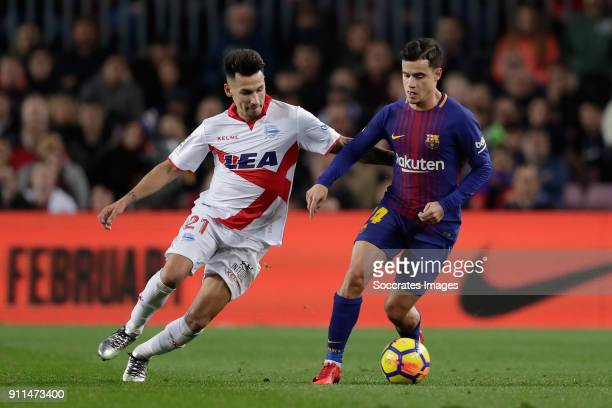 Andre Gomes of FC Barcelona Philippe Coutinho of FC Barcelona during the La Liga Santander match between FC Barcelona v Deportivo Alaves at the Camp...