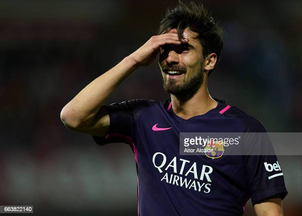Andre Gomes of FC Barcelona reacts during the La Liga match between Granada CF v FC Barcelona at Estadio Nuevo Los Carmenes on April 02 2017 in...
