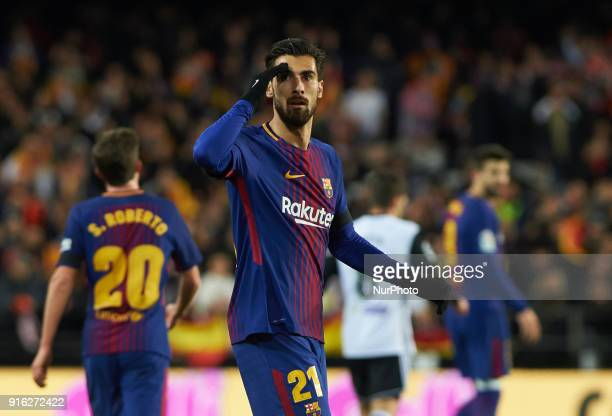 Andre Gomes of FC Barcelona reacts during the spanish Copa del Rey semifinal second leg match between Valencia CF and FC Barcelona at Mestalla...