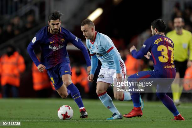 Andre Gomes of FC Barcelona Stanislav Lobotka of Celta de Vigo Jose Arnaiz of FC Barcelona during the Spanish Copa del Rey match between FC Barcelona...