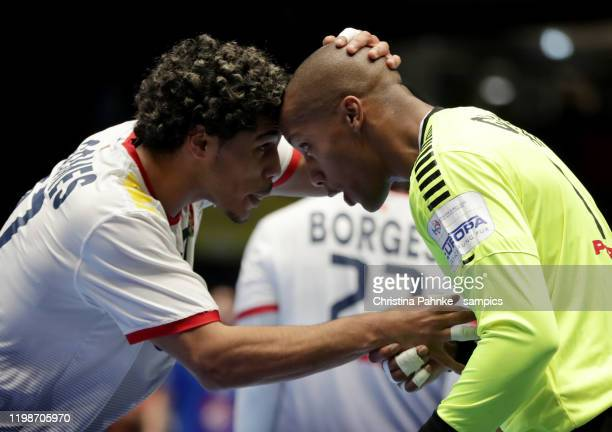 Andre GOMES of Portugal and Alfredo QUINTANA BRAVO of Portugal jubilation during the Men's EHF EURO 2020 group D match between France and Portugal at...