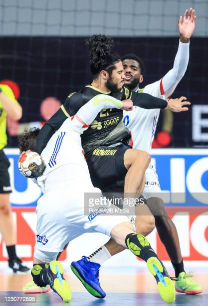 Andre Gomes of Portugal during the 27th IHF Men's World Champioship Group III match between Portugal and France at Dr Hassan Moustafa Indoor Sports...