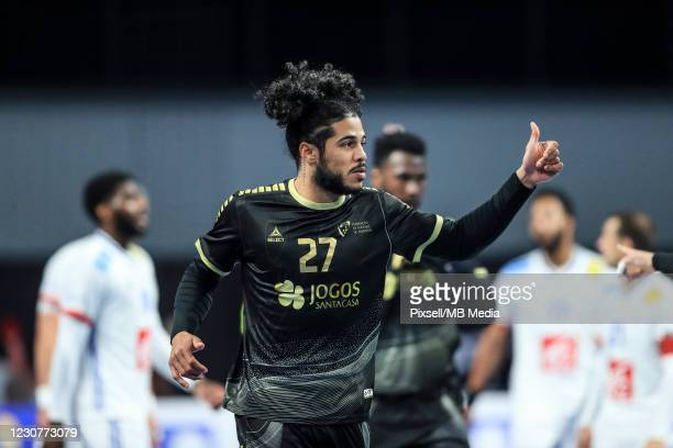Andre Gomes of Portugal gestures during the 27th IHF Men's World Champioship Group III match between Portugal and France at Dr Hassan Moustafa Indoor...