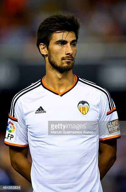 Andre Gomes of Valencia looks on prior to the start the La Liga match between Valencia CF and Malaga CF at Estadi de Mestalla on August 29 2014 in...