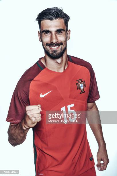 Andre Gomes poses for a picture during the Portugal team portrait session on June 15 2017 in Kazan Russia