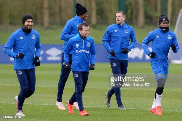 Andre Gomes Yerry Mina Bernard Gylfi Sigurdsson and Ademola during the Everton training session at USM Finch Farm on March 15 2019 in Halewood England