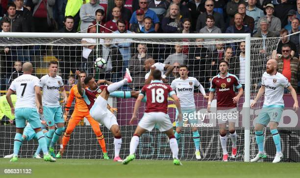 Andre Gray of Burnley attempts a shot on goal during the Premier League match between Burnley and West Ham United at Turf Moor on May 21 2017 in...