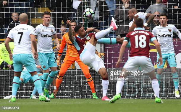 Andre Gray of Burnley attempts an overhead kick during the Premier League match between Burnley and West Ham United at Turf Moor on May 21 2017 in...