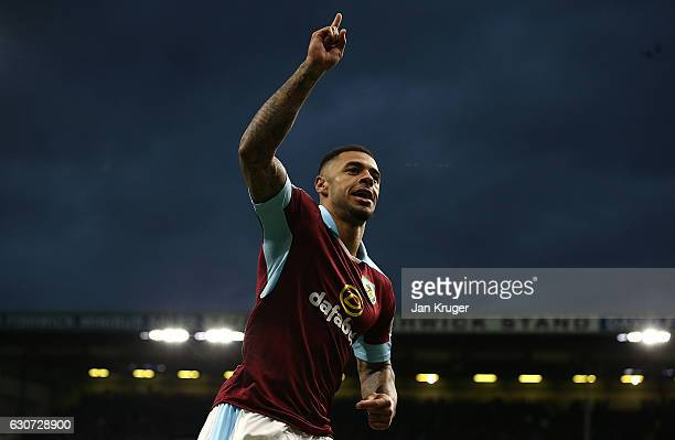 Andre Gray of Burnley celeberates scoring his team's second goal during the Premier League match between Burnley and Sunderland at Turf Moor on...
