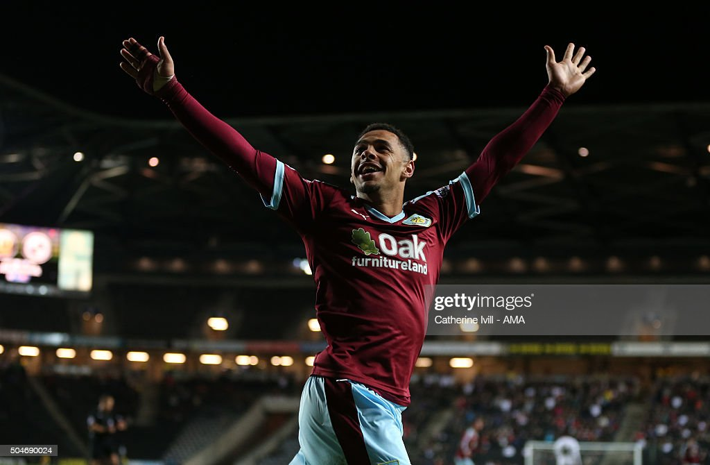 Andre Gray of Burnley celebrates after he scores to make it 0-3 during the Sky Bet Championship match between MK Dons and Burnley at Stadium mk on January 12, 2016 in Milton Keynes, England.