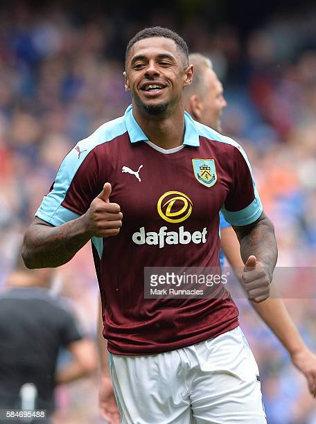 Andre Gray of Burnley celebrates after scoring his third goal of the game in the second half during a preseason friendly between Rangers FC and...