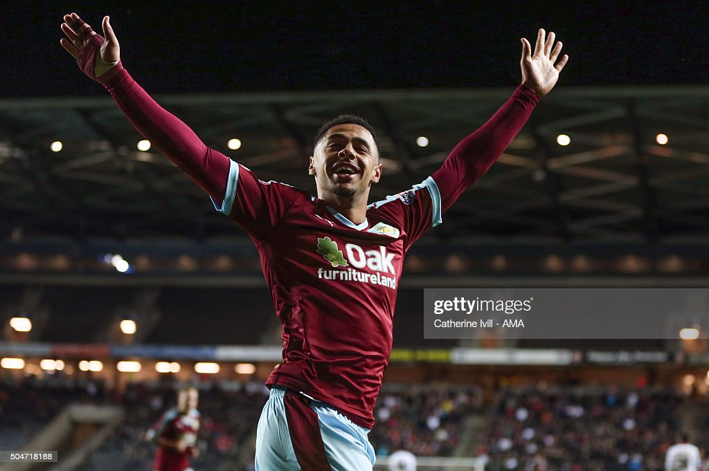 Andre Gray of Burnley celebrates after scoring to make it 0-3 during the Sky Bet Championship match between MK Dons and Burnley at Stadium mk on January 12, 2016 in Milton Keynes, England.