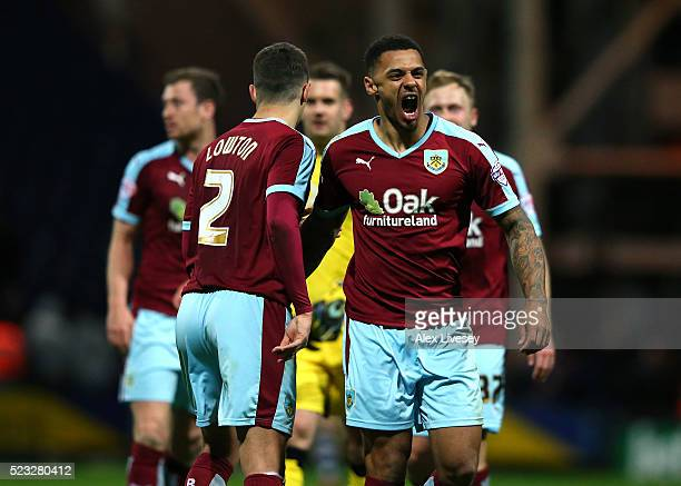 Andre Gray of Burnley celebrates after the Sky Bet Championship match between Preston North End and Burnley at Deepdale on April 22 2016 in Preston...