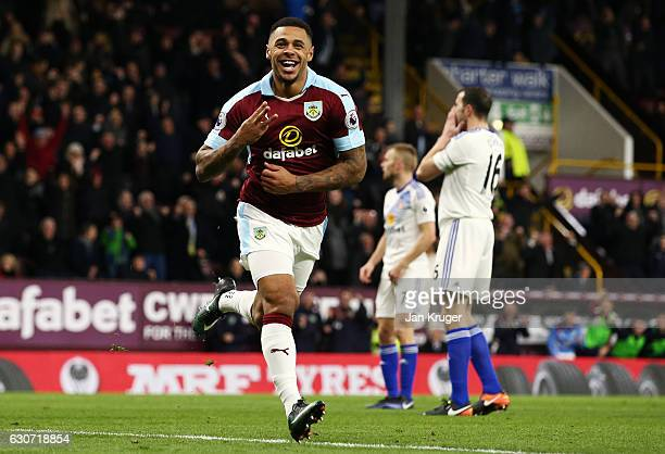 Andre Gray of Burnley celebrates scoring his team's third and hat trick goal during the Premier League match between Burnley and Sunderland at Turf...