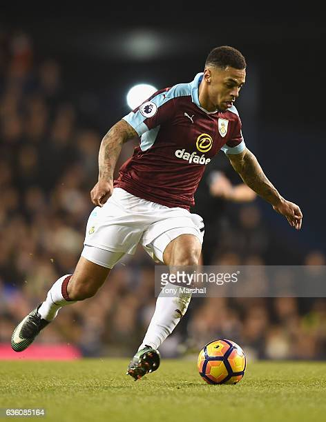 Andre Gray of Burnley during the Barclays Premier League match between Tottenham Hotspur and Burnley at White Hart Lane on December 18 2016 in London...