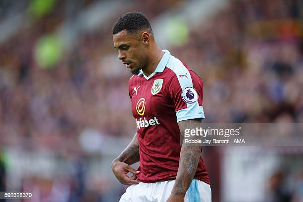Andre Gray of Burnley during the Premier League match between Burnley and Liverpool at Turf Moor on August 20 2016 in Burnley England