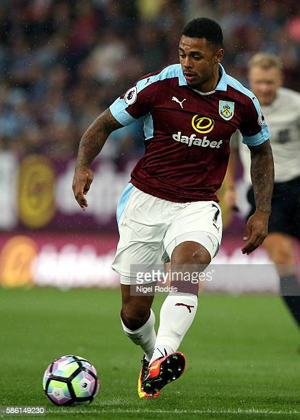 Andre Gray of Burnley during the PreSeason Friendly match between Burnley and Real Sociedad at Turf Moor on August 5 2016 in Burnley England