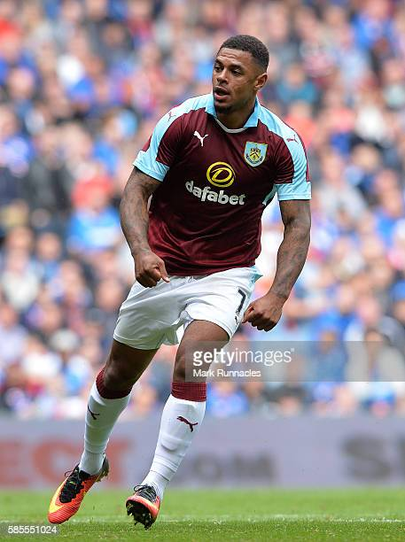 Andre Gray of Burnley in action during a preseason friendly between Rangers FC and Burnley FC at Ibrox Stadium on July 30 2016 in Glasgow Scotland