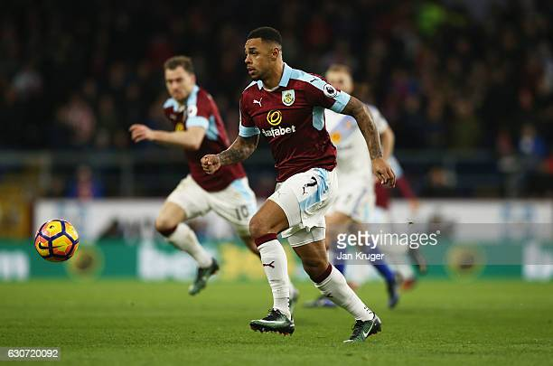 Andre Gray of Burnley in action during the Premier League match between Burnley and Sunderland at Turf Moor on December 31 2016 in Burnley England