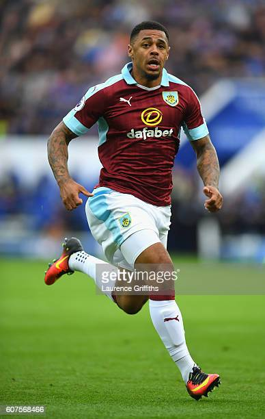 Andre Gray of Burnley in action during the Premier League match between Leicester City and Burnley at The King Power Stadium on September 17 2016 in...