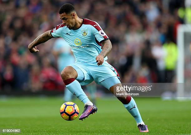 Andre Gray of Burnley in action during the Premier League match between Manchester United and Burnley at Old Trafford on October 29 2016 in...