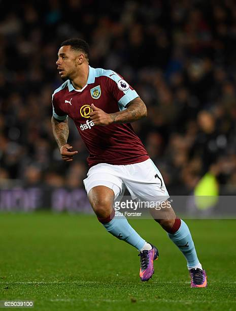 Andre Gray of Burnley in action during the Premier League match between West Bromwich Albion and Burnley at The Hawthorns on November 21 2016 in West...