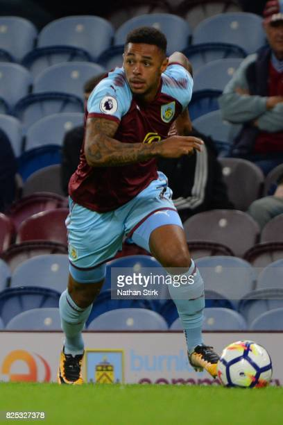 Andre Gray of Burnley in action during the preseason friendly match between Burnley and Celta Vigo at Turf Moor on August 1 2017 in Burnley England