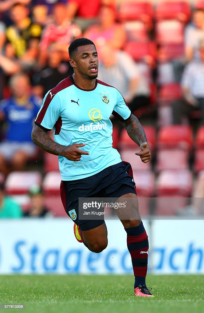 Andre Gray of Burnley looks on during the pre season friendly match between Morecambe and Burnley at Globe Arena on July 19, 2016 in Morecambe, England.