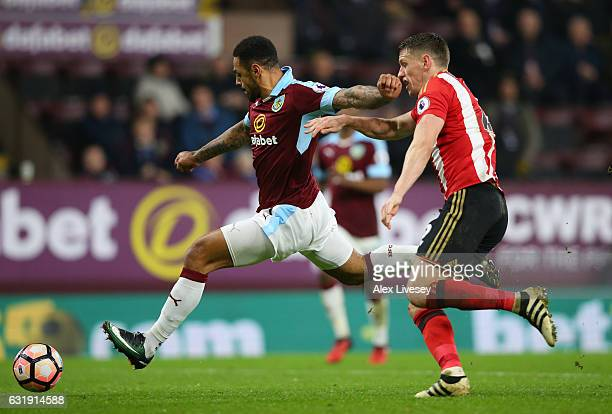 Andre Gray of Burnley scores his sides second goal during the Emirates FA Cup third round replay between Burnley and Sunderland at Turf Moor on...