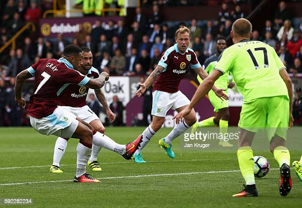 Andre Gray of Burnley scores his sides second goal during the Premier League match between Burnley and Liverpool at Turf Moor on August 20 2016 in...