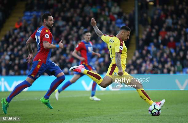 Andre Gray of Burnley scores his team's second goal during the Premier League match between Crystal Palace and Burnley at Selhurst Park on April 29...