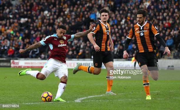 Andre Gray of Burnley shoots during the Premier League match between Hull City and Burnley at KCOM Stadium on February 25 2017 in Hull England
